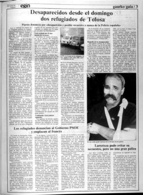 """ORAIN KALERA.Exito de público en el estreno del film """"Lasa eta Zabala"""".Egin,hace 30 años,ya narró los hechos como luego se han acreditado."""