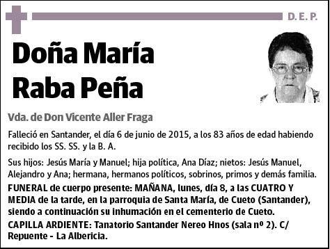 ESKELAK.Ha muerto la bilbotarra Maria Raba Peña,con 83 años en Santander,tia del editor de ORAIN Maudili Prieto.Goian bego.