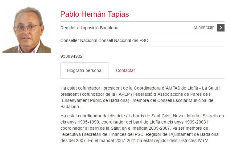 ESKELAK.Goian bego. Badalona sozialistaren zinegotzi ohia,Pablo Hernán, abuztuak 14n hil du.